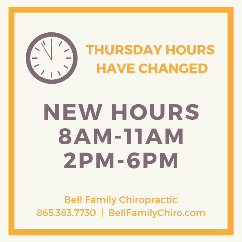 Chiropractic office in Knoxville, TN new hours.